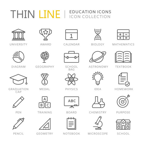 collection of education thin line icons - university stock illustrations, clip art, cartoons, & icons