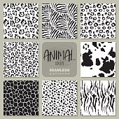 Collection of eight black and white vector seamless patterns with animal skin zebra, leopard, jaguar, giraffe cow. Set of Endless modern background.
