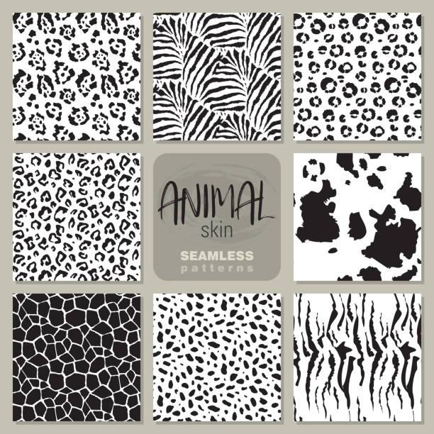 stockillustraties, clipart, cartoons en iconen met collectie van acht vector naadloze patronen met huid van een proefdier zebra, de luipaard, de jaguar, giraffe koe. - dierenhaar