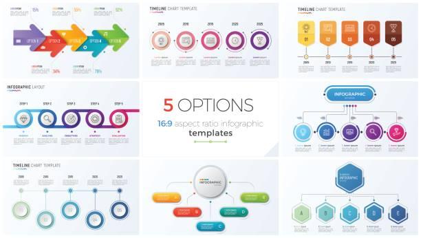 ilustraciones, imágenes clip art, dibujos animados e iconos de stock de colección de vector ocho plantillas para infografía con 5 opciones, pasos, procesos - infografías para diagramas de flujo