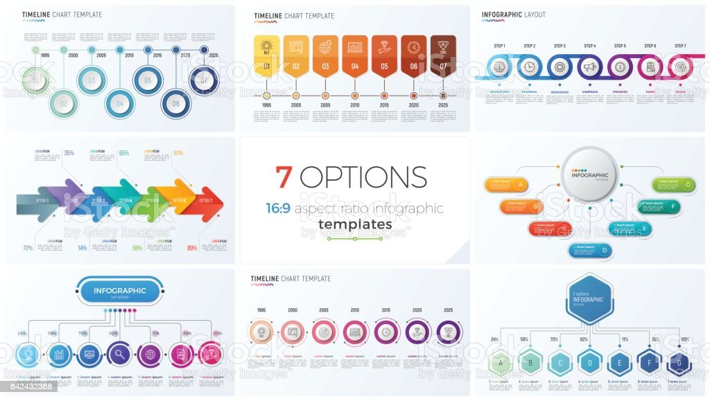 Collection of eight vector templates for infographics with 7 options, steps, processes vector art illustration