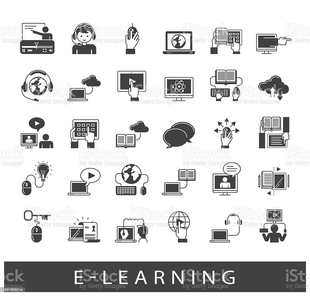 Collection of e-learning icons vector art illustration