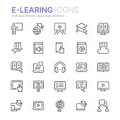 Collection of e-learning related line icons. 48x48 Pixel Perfect. Editable stroke