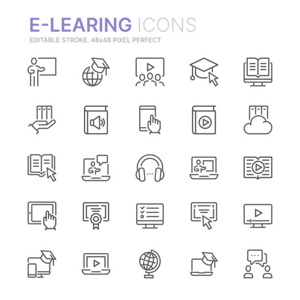 ilustrações de stock, clip art, desenhos animados e ícones de collection of e-learning related line icons. 48x48 pixel perfect. editable stroke - webinar anuncio