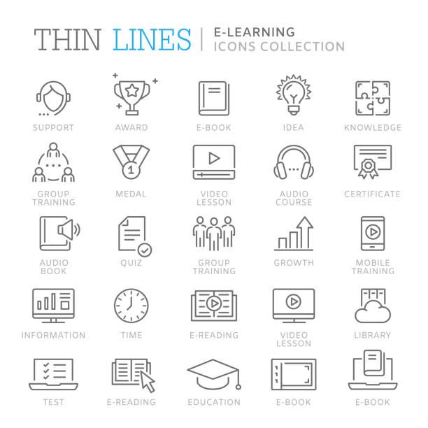 stockillustraties, clipart, cartoons en iconen met verzameling van e-learning dunne lijn icons - youtube