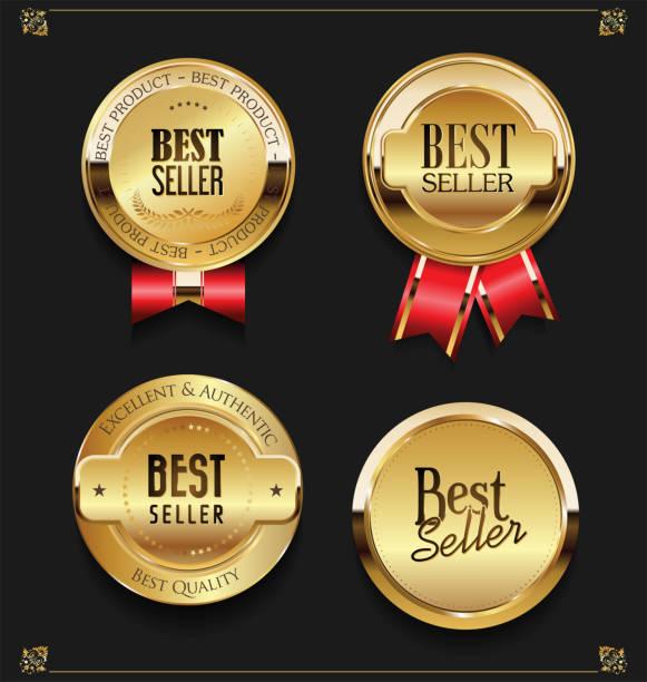 エレガントなゴールデン プレミアム ベスト販売ラベルのコレクション - メダル点のイラスト素材/クリップアート素材/マンガ素材/アイコン素材