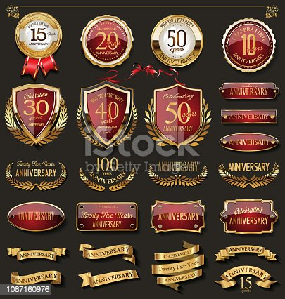 istock Collection of elegant red and gold anniversary badges and labels design elements 1087160976