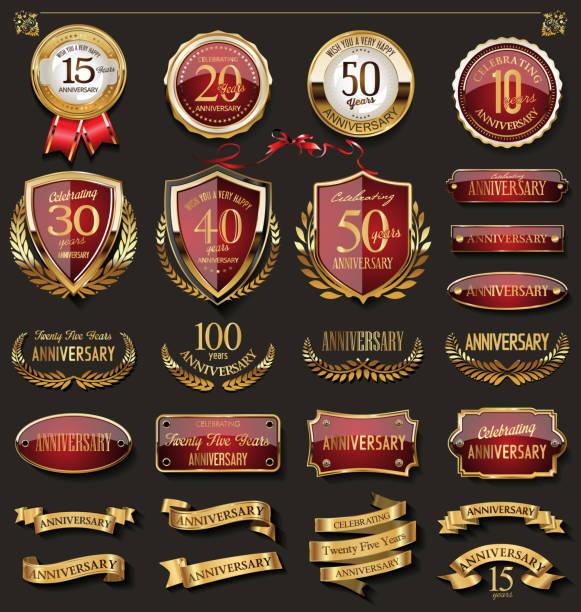 kolekcja eleganckich odznak rocznicowych i elementów projektu z okazji czerwonej i złotej rocznicy - insygnia stock illustrations