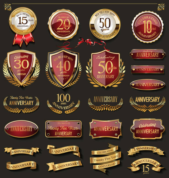 collection of elegant red and gold anniversary badges and labels design elements - insygnia stock illustrations