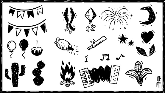 Collection of elements in woodcut style. of a June party.