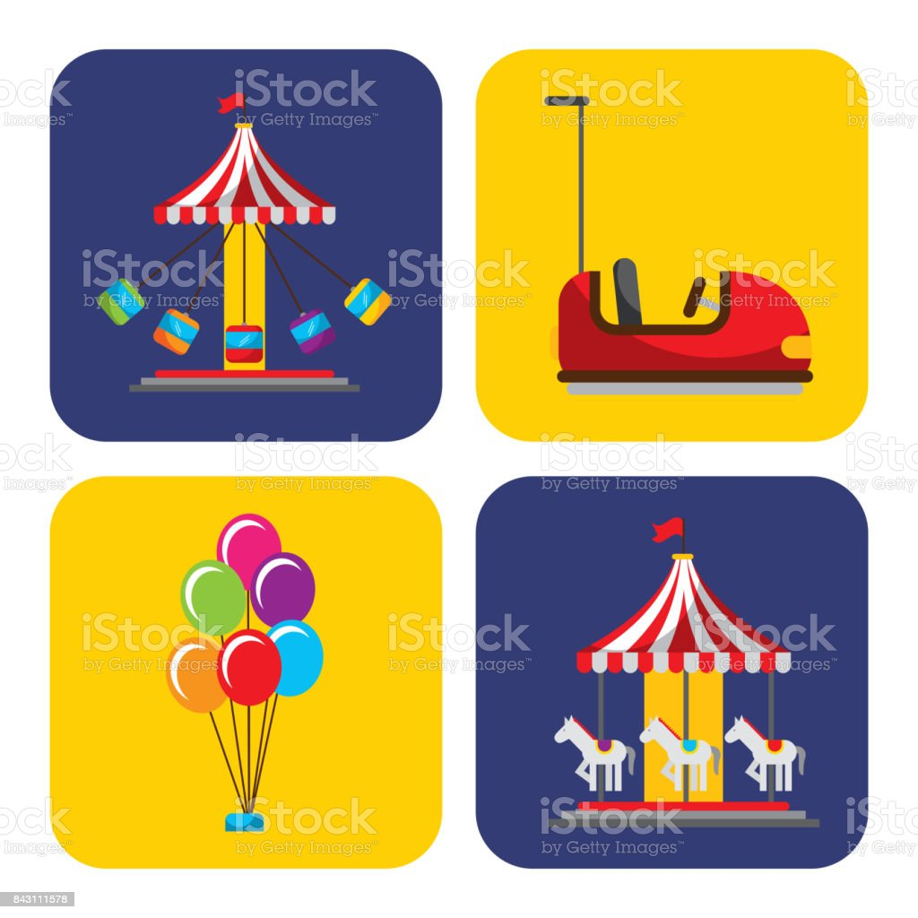 colección de elementos relacionados con la fiesta de carnaval y circo - ilustración de arte vectorial