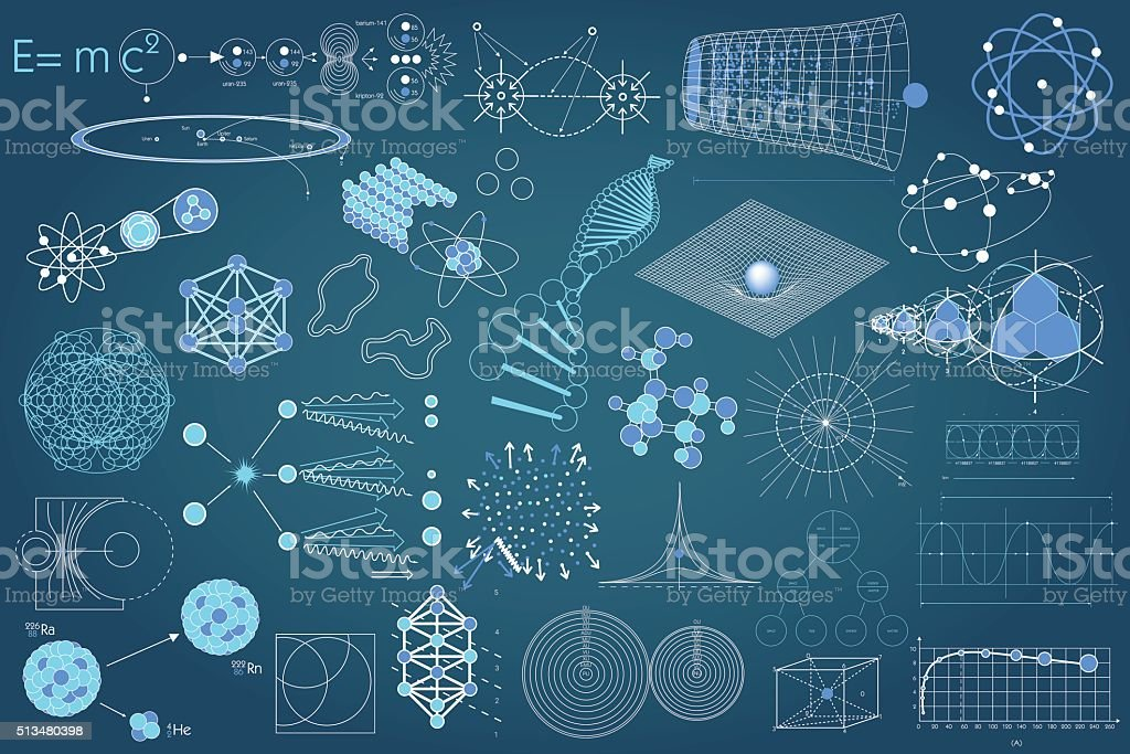 Collection of elements, symbols and schemes of science vector art illustration