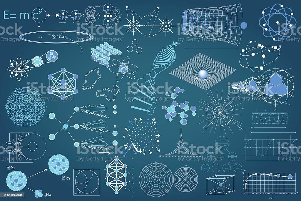 Conjunto de elementos e emblemas e regimes de Ciência - ilustração de arte em vetor