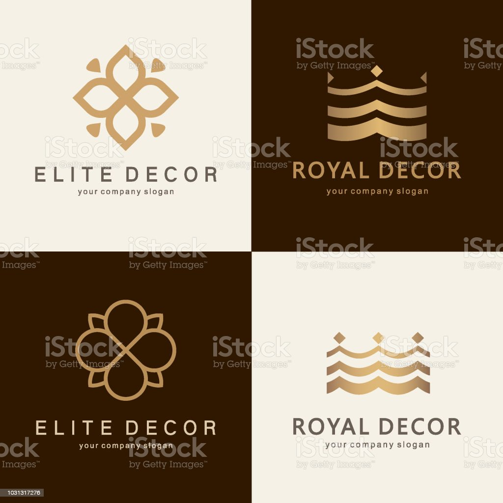 A collection of emblem design for interior, furniture shops, decor items and home decoration vector art illustration
