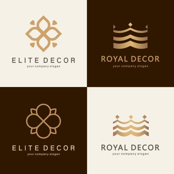 bildbanksillustrationer, clip art samt tecknat material och ikoner med en samling av emblem design för heminredning, inredningsdetaljer och möbler affärer, interiör - beautiful floor