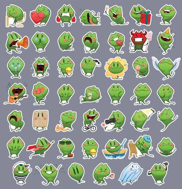 bildbanksillustrationer, clip art samt tecknat material och ikoner med samling av uttryckssymboler emoji tecknad groda - coffe with death