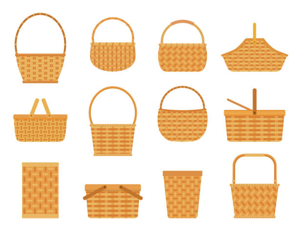 collection of empty baskets, isolated on white background. - kosz stock illustrations