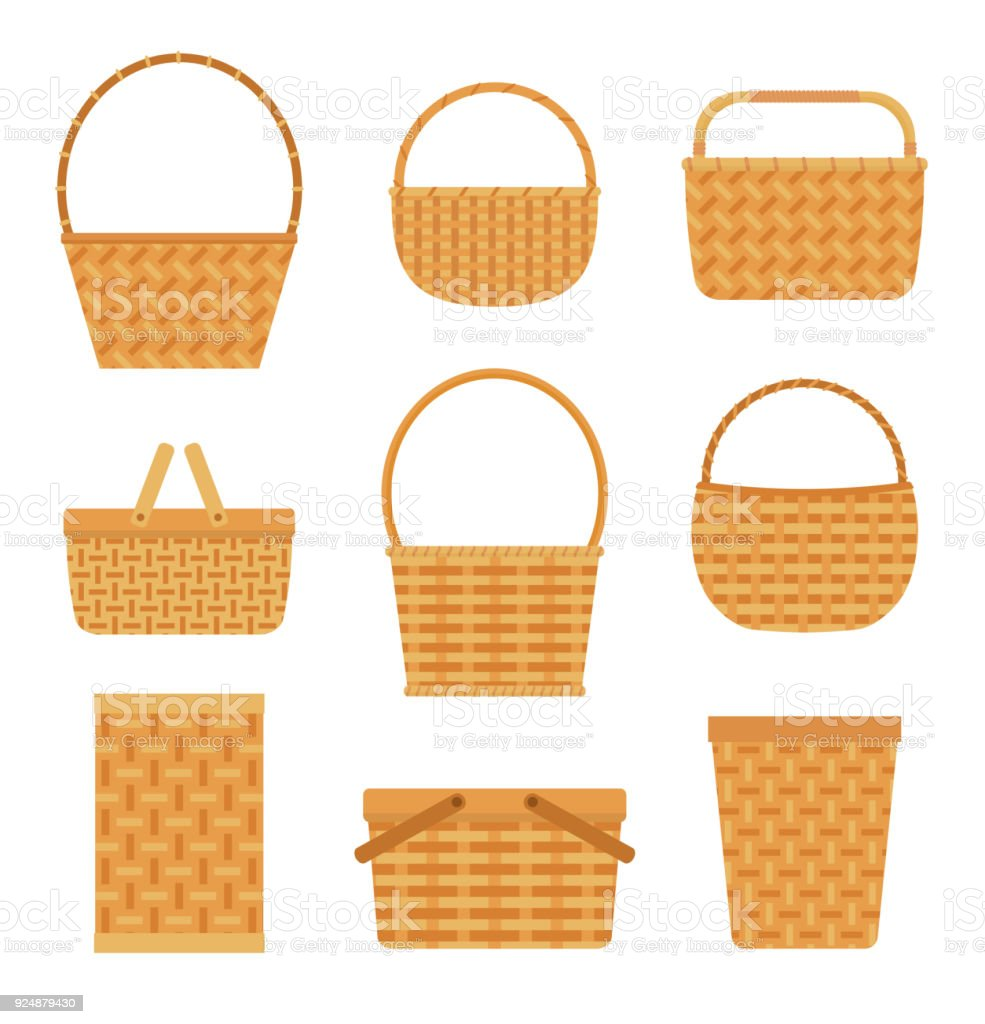 Collection of empty baskets, isolated on white background. royalty-free collection of empty baskets isolated on white background stock illustration - download image now