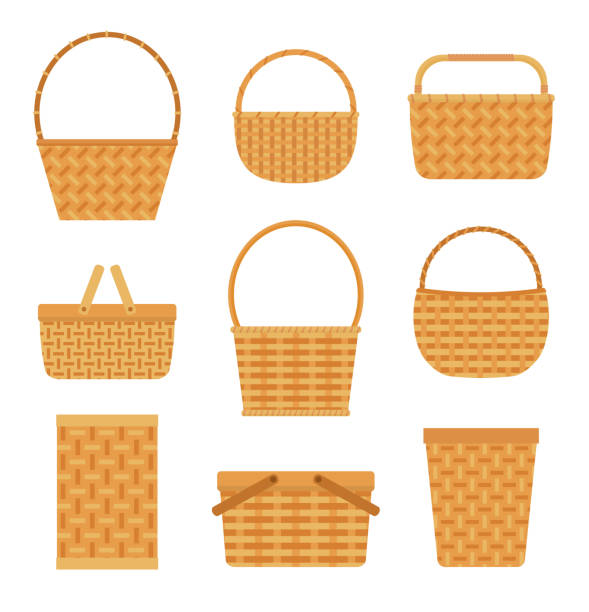 Collection of empty baskets, isolated on white background. Collection of empty baskets, isolated on white background. Flat style vector illustration. wicker stock illustrations