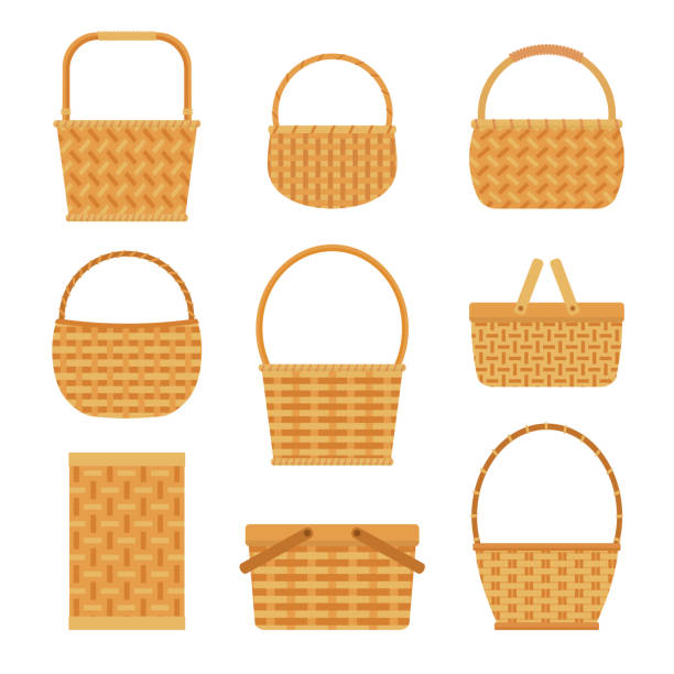Collection of empty baskets, isolated on white background. vector art illustration