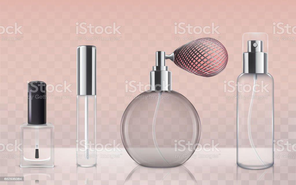 Coleção de frascos de cosméticos de vidro vazio no estilo realista - ilustração de arte em vetor