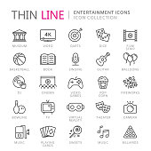Collection of entertainment thin line icons. Vector eps10