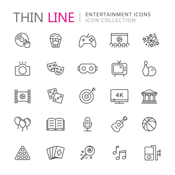 collection of entertainment thin line icons - music and entertainment icons stock illustrations
