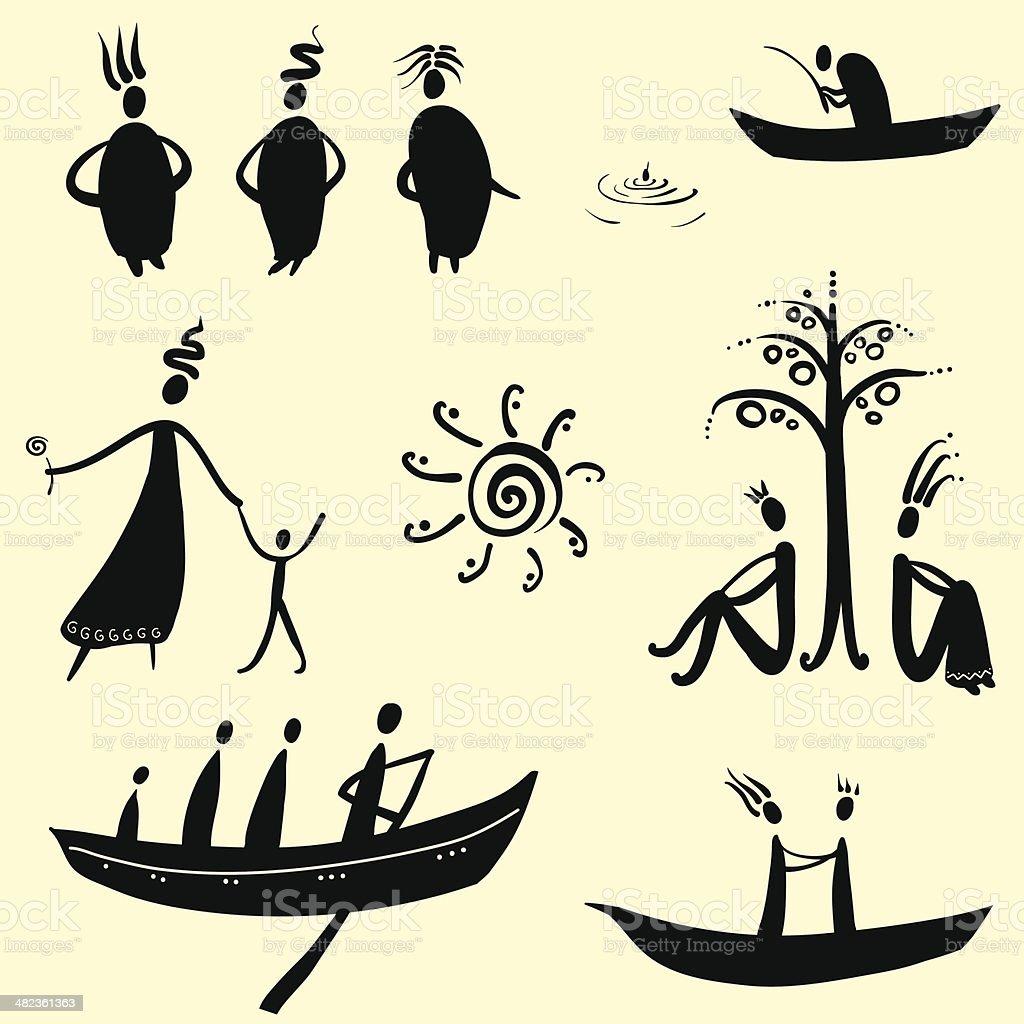 Sammlung von ethnischen Zeichen – Vektorgrafik