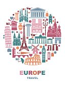 Collection of Europe detailed silhouettes in the form of a circle. Set Travel Landmarks. vector illustration. London, Paris, Prague, Barcelona, Moscow Rome Athens Berlin
