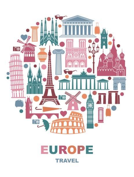 stockillustraties, clipart, cartoons en iconen met collectie van europa gedetailleerde silhouetten in de vorm van een cirkel. set reizen monumenten. vectorillustratie. - monument