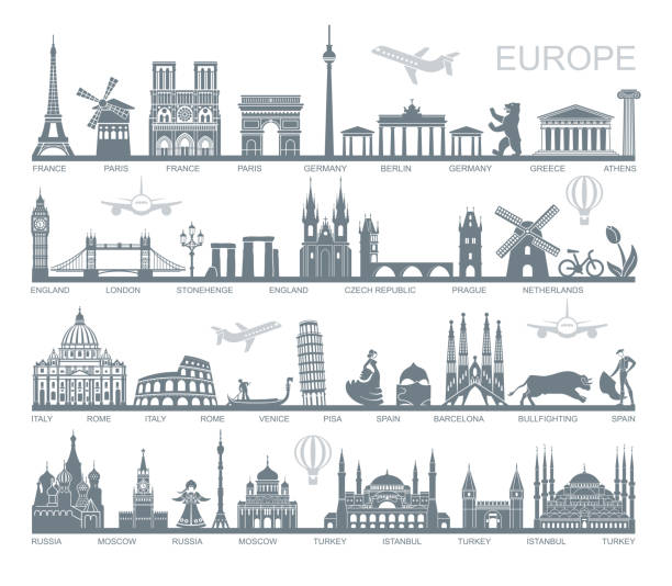 Collection of Europe detailed silhouettes. Set Travel Landmarks. vector illustration Collection of Europe detailed silhouettes. Set Travel Landmarks. vector illustration international landmark stock illustrations