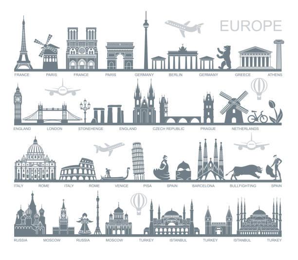 bildbanksillustrationer, clip art samt tecknat material och ikoner med samling av europa detaljerad silhuetter. inställd resa sevärdheter. vektorillustration - internationell sevärdhet