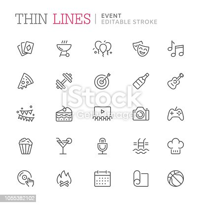 Collection of event related line icons. Editable stroke