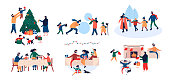 Collection of family enjoying celebration Christmas holiday at home and outdoor activity - decorating New Year tree, giving each other gifts, ice skating in winter park, build snowman, sitting by fireplace, at dinner table. Vector illustration in cartoon flat style