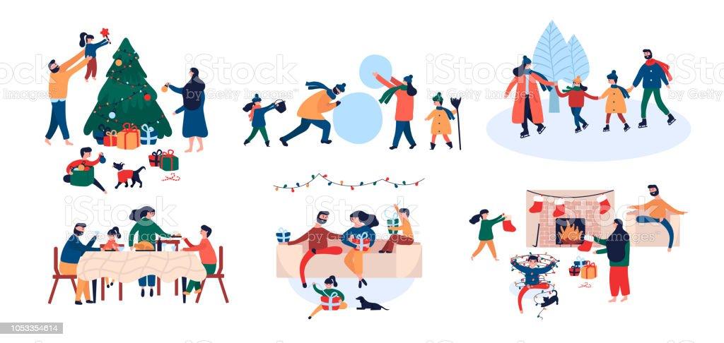 Colección de la familia disfrutando de actividades al aire libre Casa de Navidad vacaciones - ilustración de arte vectorial