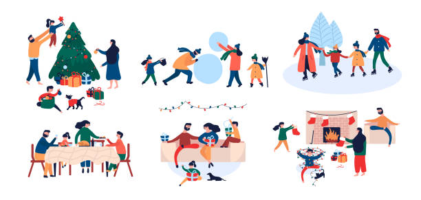 Collection of family enjoying Christmas holiday home outdoor activity Collection of family enjoying celebration Christmas holiday at home and outdoor activity - decorating New Year tree, giving each other gifts, ice skating in winter park, build snowman, sitting by fireplace, at dinner table. Vector illustration in cartoon flat style christmas family stock illustrations