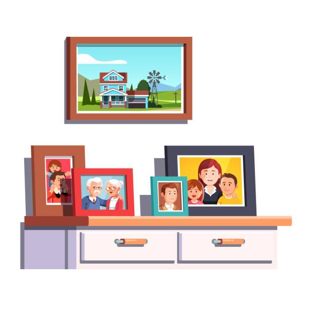 illustrazioni stock, clip art, cartoni animati e icone di tendenza di collection of family generations relatives  photos in picture frames on chest of drawers table. flat style vector - souvenir