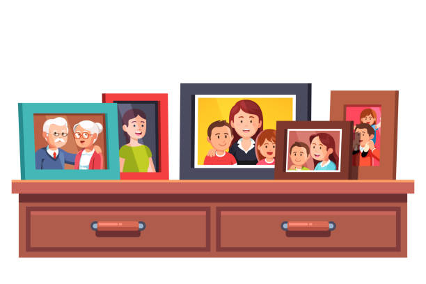 collection of family generations relatives photos in picture frames on chest of drawers table. flat style vector - old man illustration pictures stock illustrations, clip art, cartoons, & icons