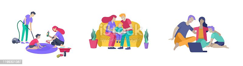 istock Collection of family hobby activities . Mother, father and children teach cleaning home, read book and teach child, watching a movie on laptop. Cartoon 1199301387