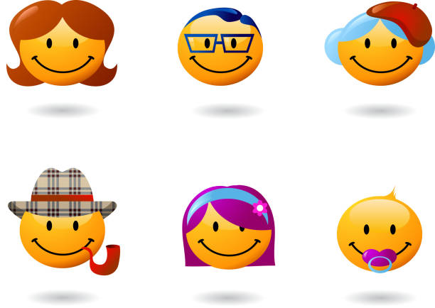 collection of family smilies - old man glasses stock illustrations, clip art, cartoons, & icons