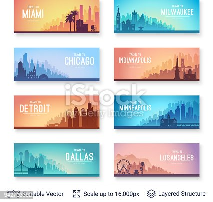 Flat well known silhouettes. Vector illustration easy to edit for flyers or web banners.