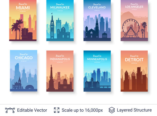 Collection of famous city scapes. Flat well known silhouettes. Vector illustration easy to edit for flyers, posters or book covers. chicago stock illustrations