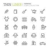 Collection of farming thin line icons. Vetor eps 8