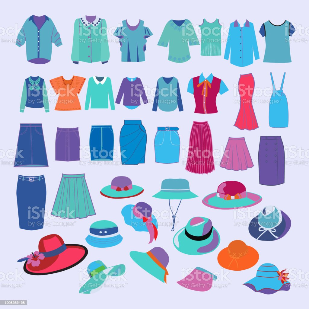 collection of fashion cloth and accessories collection. vector art illustration