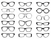 Collection of fashion glasses in black and white silhouette, vector.