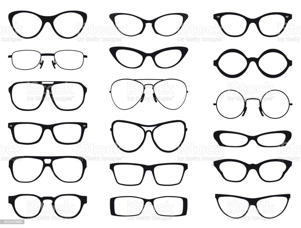 Collection of fashion glasses in black and white silhouette, vector vector art illustration