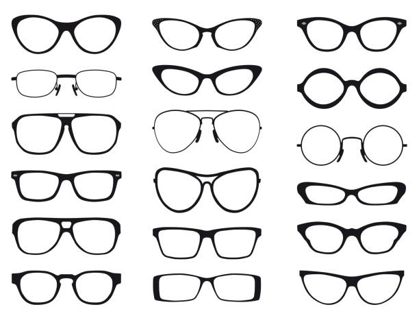collection of fashion glasses in black and white silhouette, vector - okulary stock illustrations