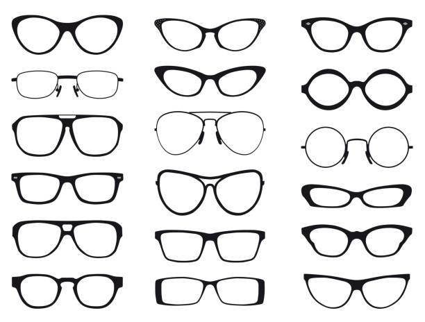 sammlung von mode brillen in der schwarzen und weißen silhouette, vektor - palettenbilderrahmen stock-grafiken, -clipart, -cartoons und -symbole