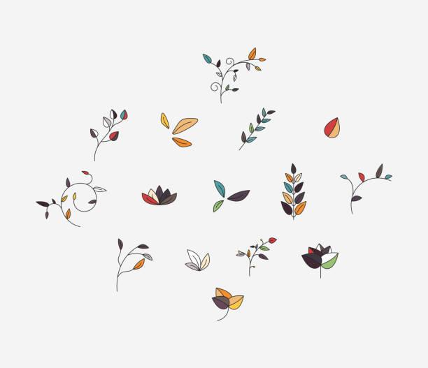 ファッション植物パターンのコレクション - ボタニカル点のイラスト素材/クリップアート素材/マンガ素材/アイコン素材