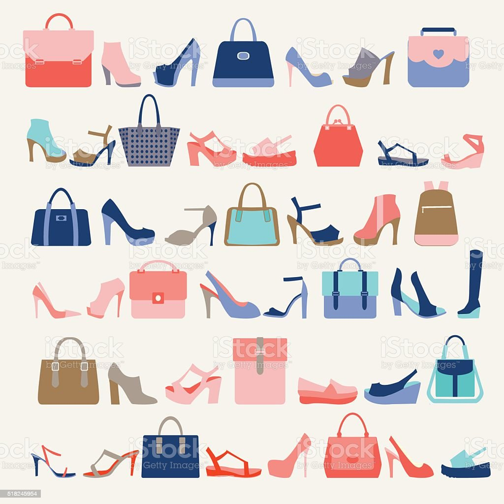 ファッション女性のコレクションバッグと高いヒールの靴 ベクターアートイラスト